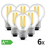 LED E27 Filament Lampe, 6W LED Edison G45 Leuchtmittel 540 Lumen, ersetzt 60W Glühfadenlampe, 2700K Warmweiß Glühbirne, 6 Pack