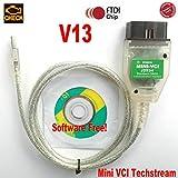 OTKEFDI Mini VCI, Mini VCI V13 OBDII Kabel J2534 TIS Techstream Software - Auto OBD Mini VCI OBD2 Diagnosewerkzeug