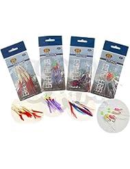 4 paquets Bass Et maquereau Herring plumes Leurre Leurre mer bateau pêche montage