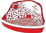 ZOLUX Jaula-baño para roedores, diseño en ángulo, Color Rojo, 41,5 x 31 x 20,5 cm