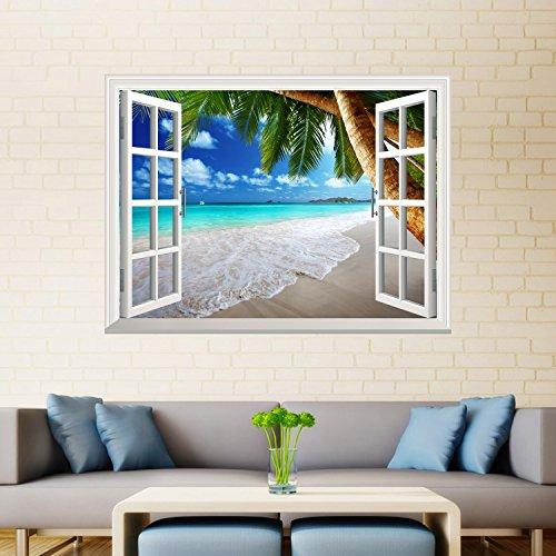 UniqueBella 3D Fotomural Vinilo Decorativo de Ventana Autoadhesivo Pegatina de Pared Extraíble Decoración del Hogar Paisaje en Playa Tropical 61CM * 81CM