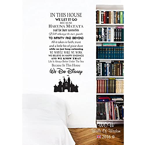 Disney In This House We Do Disney Castle Wall Sticker Wall Art Decal (120 X  54cm, Black)