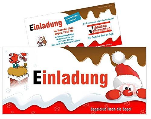 schicke Weihnachtseinladungen zum runden weihnachtlichen Geburtstag lustig, für jedes Jahr möglich - mit Spruch - 15 Stück, 21 x 9,9 cm