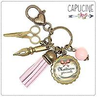 Porte clés - bijou de sac Maîtresse - Bronze et cabochon verre illustré Maîtresse Géniale - idée cadeau maîtresse, cadeau fin d'année scolaire