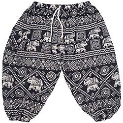 Lofbaz Niños Cordón Elefantes Boho Drawstring Pantalones Elephant 1 Negro 3/4Y