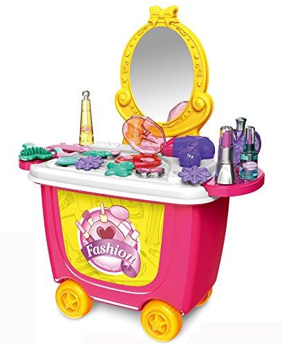 ♛ Rollbarer Spielzeug Schminktisch mit Kosmetikspiegel und umfangreichem Zubehör ♛ thumbnail