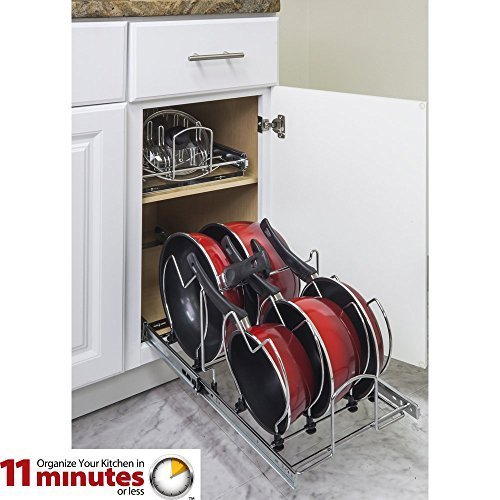 Box of 2 (Two) - Pullout Cookware Pots and Pans Organizer + Pots and Pans Pullout Lid Organizer by Cabinet Organizers