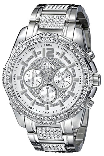 GUESS Men's U0291G1 Sporty Silver-Tone Stainless Steel Watch with Chronograph Dial and Deployment Buckle image