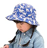 Bigood Kids Summer Cartoon Dinosaur Print Cotton Bucket Cap Sun Hat Blue