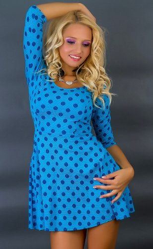 Celebrity style formelle mini robe Patineuse casual cocktail club de bureau Taille 42–47 gradation église tenues chics bandage fin Vert/Bleu Bleu - Bleu