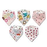 5er Baby Dreieckstuch Mädchen Lätzchen - 100% Baumwolle Spucktuch Muster doppelseitiges Saugfähig Weich Größenverstellbar Halstücher mit Druckknöpfen von Future...