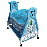 Flipzon High Quality Foldable Baby Kick And Play Crib Cum Palna And Stroller With Wheel With Mosquito Net And Storage Space (J11) - Blue)