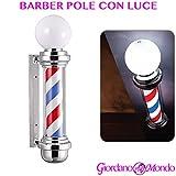Barber Pole enseigne lumineuse pour barbier, poteau avec lumière extérieur, poteau pivotant, chromé, professionnel