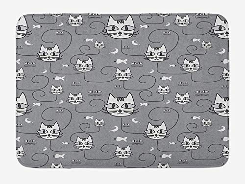 Animal Bath Mat, Cartoon Style Cute Cats Birds Fishes Pattern Design Silhouette Concept Artwork, Plush Bathroom Decor Mat with Non Slip Backing, 23.6 W X 15.7 W Inches, Grey and White (Rv-monster-truck)
