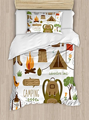 LIS HOME Adventure Bettbezug-Set Twin Size, Campingausrüstung Schlafsack Stiefel Campfire Shovel Hatchet Log Artwork Print, dekoratives 2-teiliges Bettwäscheset mit 1 Kopfkissenbezug, Multicolor