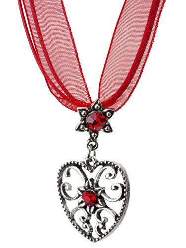 Trachtenkette Alpensonne Herz und Edelweiss Anhänger mit Strass - Trachtenschmuck Kette für Dirndl und Lederhose (Rot)