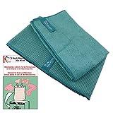 Jemako® 2er Set türkis Profituch & Trockentuch mittel 45 x 60 cm Fenster / Haushalt / Glas plus 2 Stück K7plus® Wäschenetze / Wäschesack