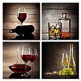 Juego de 4 cuadros de Wieco Art, HD, estirados y enmarcados, con diseño de copas de vino tinto, arte...