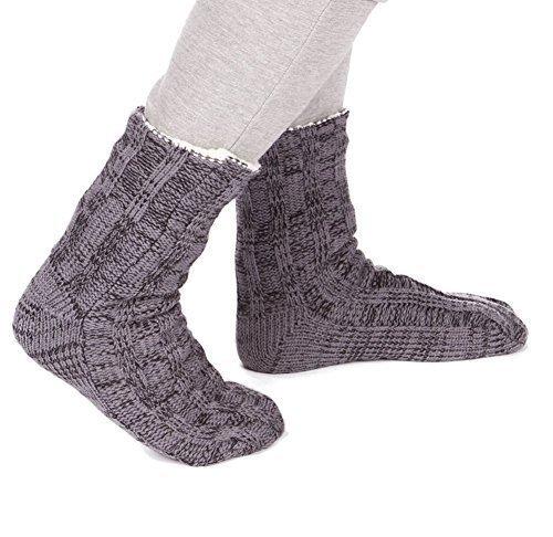 Hombre Punto Grueso Completamente Forro Polar Pantuflas / Calcetines con pinza de Suelas - Gris, One Size
