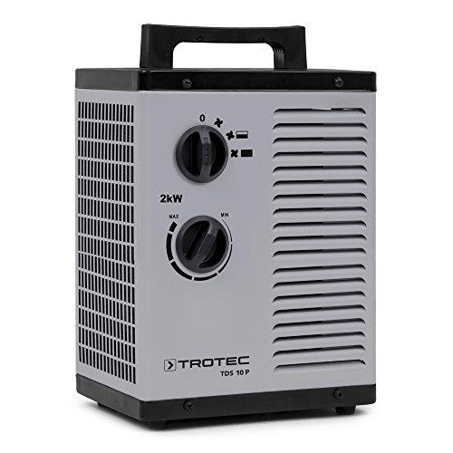 TROTEC Chauffage soufflant céramique TDS 10 P, Puissance de chauffe de 2 kW avec 2 niveaux de chauffe et 1 position air froid, Chaleur sans condensation, produite sans consommation d'oxygène ni fumées
