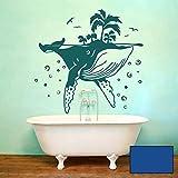 Wandtattoo Wal mit Insel Palmen Luftblasen Möwen Vögel perfekt fürs Badezimmer Wanddeko M2420 - ausgewählte Farbe: *blau* ausgewählte Größe: *M - 75cm hoch x 75cm breit*