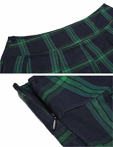 Avidlove Schulmädchen Mini Rock Skirt Damen Kurz Schottenkaro Minirock Kariert Röcke Mit Reißverschluss Grün