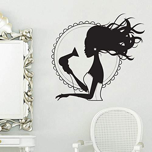 Haartrockner Stylist Vinyl Wandaufkleber für Schönheitssalon Frau Barbershop Dekoration Wandtattoos Für mädchen Klebstoff Kunstwand 57 * 63 cm