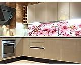 Küchenrückwand Folie selbstklebend APFELBLÜTE 180 x 60 cm | Klebefolie - Dekofolie - Spritzchutz für Küche | PREMIUM QUALITÄT