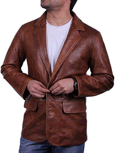 Herren Braun italienischen Leder Blazer Jacken weich und elegant leicht gewachst echtes Leder BNWT (Medium) (Medium Leder Echtem Italienischen)