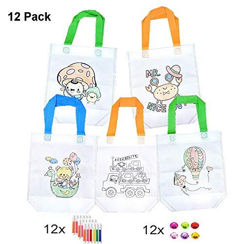 DazSpirit Sacs à Main réutilisables, 12 Sac en Coton + 12 Jeux de Crayons à Colorier (6 Couleurs...