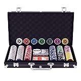 COSTWAY Malette Poker Jetons Poker Ensemble de 300 Jetons 2 Jeux de Cartes 5 Dés 1 Bouton Dealer Mallette en Aluminium (Noir)