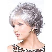 Dbtxwd Parrucca grigia bianca Fluffy Fashion Realistico Capelli corti e  ricci per le donne Donne di 5255f868b042