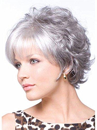 ZJG White Grey Wig Flauschige Mode Lebensechte Kurze lockige Haare für Frauen Mittlere Alter und ältere Menschen