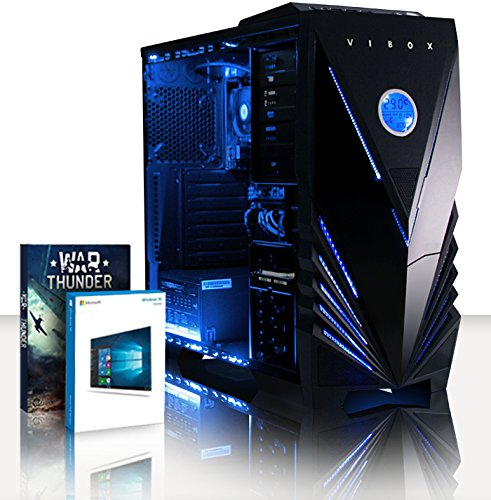 Vibox Black-Ice LA8-10 PC da Gaming, A8-9600, 4 GB, HDD 1000 GB, Azzurro
