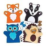 """Baker Ross Handpop naaiset """"bosdieren"""" voor kinderen – voor knutselwerk en decoraties (4 stuks)"""