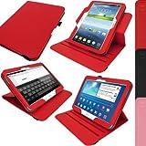 igadgitz Premium 360° Rotatif Rouge Cuir PU Etui Housse Case Cover pour Samsung Galaxy Tab 3 10.1' GT-P5210 Avec Auto Mise en Veille Réveil + Support Multi Angles + Film de Protection
