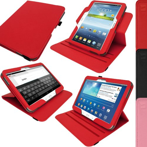 """igadgitz 360° Drehbar Rot PU Ledertasche Hülle für Samsung Galaxy Tab 3 10.1\"""" GT-P5210 Mit Multi-Winkel Betrachtungs-stand + Auto Sleep/Wake + Displayschutzfolie"""