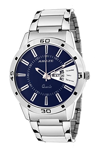 Amaze Men Sliver Chain Blue Dail Analog Watch-038