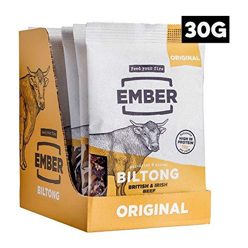 Ember Biltong - Beef Jerky - Original (10 x 30 g) - Britisches und irisches Grassteak. Proteinreicher Biltong Snack - (Original, 10 x 30 g)