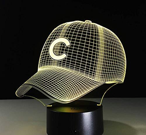 pe, LED Nachtlicht,7 Farben ändern Touch Switch Schreibtisch Lampen ,Kinder Geburtstagsgeschenk und Party Dekoration(Hip Hop Baseball Team Mütze) ()