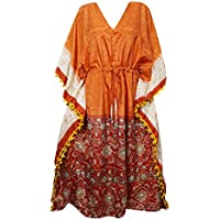 Mogul Interior Womens Caftan Kaftan Maxi Dress Orange Boho Printed Kimono Resort Wear One Size