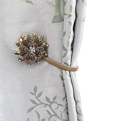 Pengyu Vorhang Kerzenhalter Dekoration Raffhalter STRASS BLUME Magnet Roll-Clip, bronze, Einheitsgröße (Roll-in Dusche)