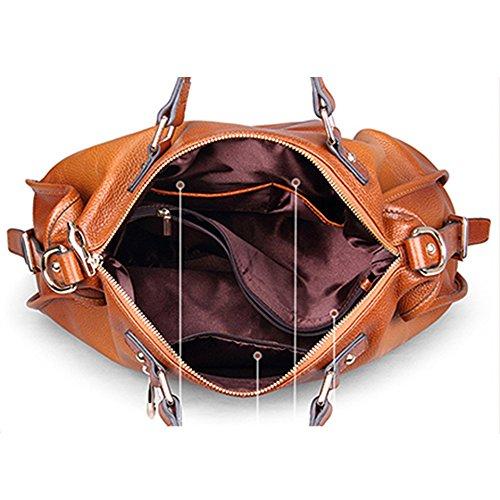 Myleas 2W-ST5606 Damen Retro Echtes Leder Henkeltasche Handtasche Schultertasche Shopper mit Schultergurt Braun