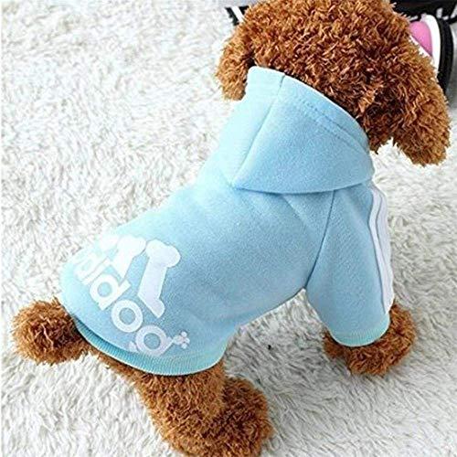 Sunshine D Adidog Haustier Hund Hoodie, Hündchen Overall Pullover, Haustiere Sportswear Jacke Kostüme Welpen T-Shirt für kleine große Hund - Blau, M