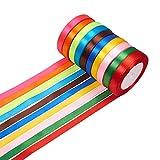 PandaHall 10 Rolls (25 Yards/Roll) 0,47' Nastro in raso Nastri per confezioni regalo Festival di nozze Decorazione