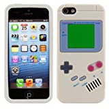kwmobile Hülle für Apple iPhone SE / 5 / 5S - TPU Silikon Backcover Case Handy Schutzhülle - Cover klar Gameboy Design Grau