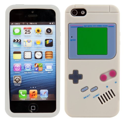 Apple iPhone SE/5/5S - TPU Silikon Backcover Case Handy Schutzhülle - Cover Gameboy Design Grau (Iphone 5 Case Gameboy)