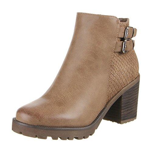 Ital-Design , chaussures compensées femme Marron - Kaki