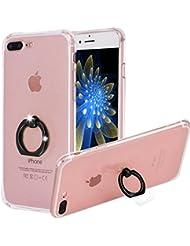 """Yoowei® funda con agarre en forma de anillo con rotación 360º para iPhone 7Plus, cristal ultra fino antideslizante, anillo de gel de silicona función atril para iPhone 7Plus 14 cm, caucho silicona, Black Ring, iPhone 7 Plus 5.5"""""""