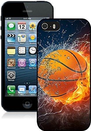 SHUAIJA Flaming Basketball Feuer und Wasser schwarz für iPhone 55S Handy Fall (G3 Lg Wasser Fall)